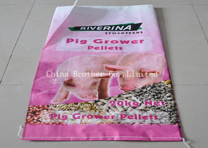 Single Folded Empty Animal Feed Bags , Chicken Feed Polypropylene Bulk Bags
